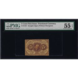 1862 First Issue 5 Cent Fractional Currency Note PMG About Uncirculated 55EPQ