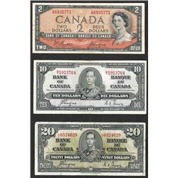 Lot of (3) 1937 Bank of Canada Notes