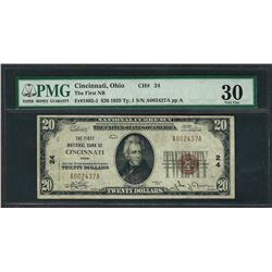 1929 $20 National Currency Note Cincinnati, Ohio CH# 24 PMG Very Fine 30