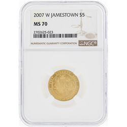 2007-W $5 Jamestown Commemorative Gold Coin NGC MS70