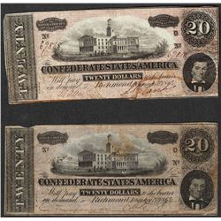 Set of (2) 1864 $20 Confederate States of America Notes