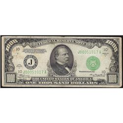 1934A $1,000 Federal Reserve Note Kansas City