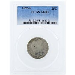 1896-S Barber Silver Quarter Coin PCGS AG03