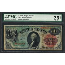 1869 $1 Rainbow Legal Tender Note Fr.18 PMG Very Fine 25 Net