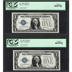 (2) Consecutive 1928A $1 Funnyback Silver Certificate Notes Fr.1601 PCGS Gem New