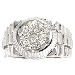 14KT White Gold 0.62 ctw Men's Round Brilliant Cut Diamond Ring
