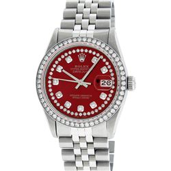 Rolex Mens 36mm Stainless Steel Red String Diamond Datejust Wristwatch