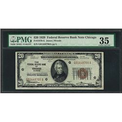 1929 $20 Federal Bank of Chicago Note Fr.1870-G PMG Choice Very Fine 35
