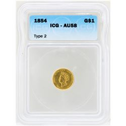 1854 $1 Indian Princess Head Gold Dollar Coin Type 2 ICG AU58