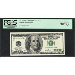 2001 $100 Federal Reserve STAR Note PCGS Superb Gem New 68PPQ