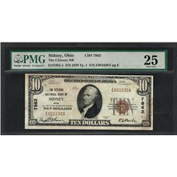 1929 $10 National Currency Note Sidney, Ohio CH# 7862 PMG Very Fine 25