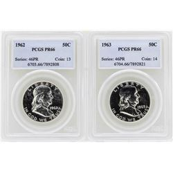 Lot of 1962-1963 Franklin Half Dollar Proof Coins PCGS PR66