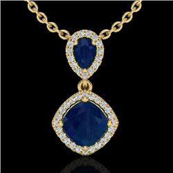 3.50 CTW Sapphire & Micro VS/SI Diamond Necklace Designer Halo 10K Yellow Gold - REF-58F2N - 20549