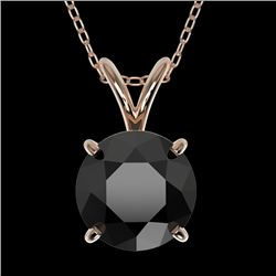 1.50 CTW Fancy Black VS Diamond Solitaire Necklace 10K Rose Gold - REF-34H3A - 33224