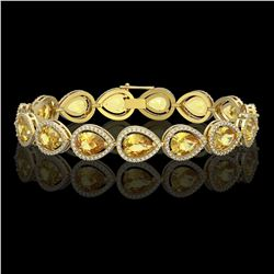 17.3 CTW Fancy Citrine & Diamond Halo Bracelet 10K Yellow Gold - REF-282W9F - 41278