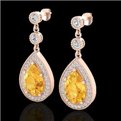 4.50 CTW Citrine & Micro VS/SI Diamond Earrings Designer 14K Rose Gold - REF-61H8A - 23113