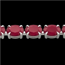29 CTW Ruby Eternity Designer Inspired Tennis Bracelet 14K White Gold - REF-180H2A - 23393