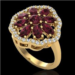 3 CTW Garnet & VS/SI Diamond Cluster Designer Halo Ring 10K Yellow Gold - REF-52A2X - 20783