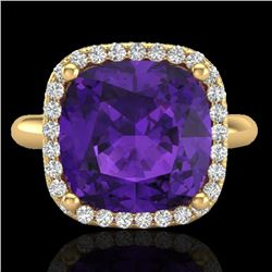 6 CTW Amethyst & Micro Pave Halo VS/SI Diamond Ring Solitaire 18K Yellow Gold - REF-56F8N - 23093