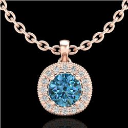 1.1 CTW Fancy Intense Blue Diamond Solitaire Art Deco Necklace 18K Rose Gold - REF-136F4N - 38000