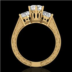 2.01 CTW VS/SI Diamond Solitaire Art Deco 3 Stone Ring 18K Yellow Gold - REF-527A3X - 36931