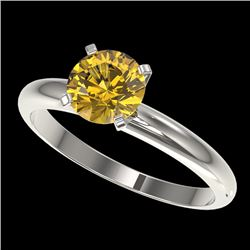 1.25 CTW Certified Intense Yellow SI Diamond Solitaire Ring 10K White Gold - REF-272T8M - 32911