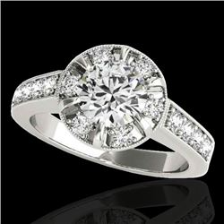 2 CTW H-SI/I Certified Diamond Solitaire Halo Ring 10K White Gold - REF-236W4F - 34486