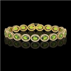 13.87 CTW Peridot & Diamond Halo Bracelet 10K Yellow Gold - REF-251X6T - 40480