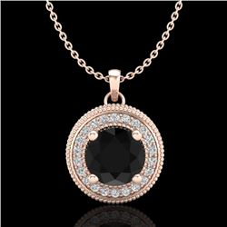 1.25 CTW Fancy Black Diamond Solitaire Art Deco Stud Necklace 18K Rose Gold - REF-89M3H - 38018