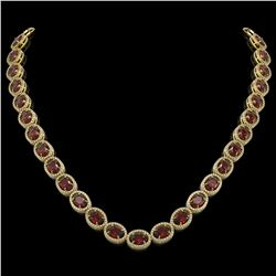 50.08 CTW Garnet & Diamond Halo Necklace 10K Yellow Gold - REF-555N6Y - 40600
