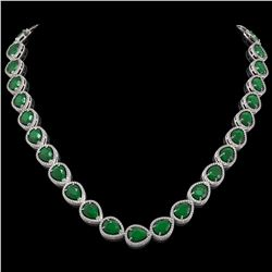 64.01 CTW Emerald & Diamond Halo Necklace 10K White Gold - REF-838M2H - 41186