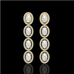 4.05 CTW Opal & Diamond Halo Earrings 10K Yellow Gold - REF-112F8N - 40519