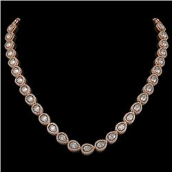 28.74 CTW Pear Diamond Designer Necklace 18K Rose Gold - REF-5269N3Y - 42642