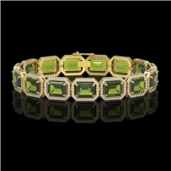 36.51 CTW Tourmaline & Diamond Halo Bracelet 10K Yellow Gold - REF-477M3H - 41545