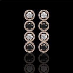 5.58 CTW Black & White Diamond Designer Earrings 18K Rose Gold - REF-581H3A - 42612