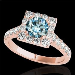 2 CTW Si Certified Blue Diamond Solitaire Halo Ring 10K Rose Gold - REF-210K9W - 34138