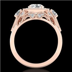 2.11 CTW VS/SI Diamond Solitaire Art Deco 3 Stone Ring 18K Rose Gold - REF-472M8H - 37329