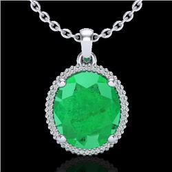 12 CTW Emerald & Micro Pave VS/SI Diamond Halo Necklace 18K White Gold - REF-115H5A - 20609