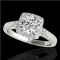 1.7 CTW H-SI/I Certified Diamond Solitaire Halo Ring 10K White Gold - REF-178H2A - 33373