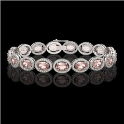 20.18 CTW Morganite & Diamond Halo Bracelet 10K White Gold - REF-377K3W - 40613