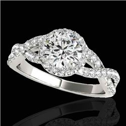 1.54 CTW H-SI/I Certified Diamond Solitaire Halo Ring 10K White Gold - REF-180A2X - 33787