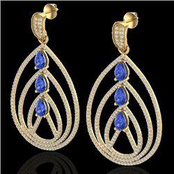 4 CTW Tanzanite & Micro Pave VS/SI Diamond Designer Earrings 18K Yellow Gold - REF-307X3T - 22463