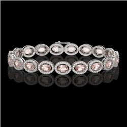 14.25 CTW Morganite & Diamond Halo Bracelet 10K White Gold - REF-294T2M - 40463
