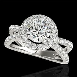 2.01 CTW H-SI/I Certified Diamond Solitaire Halo Ring 10K White Gold - REF-209M3H - 34025