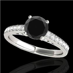 1.5 CTW Certified VS Black Diamond Solitaire Ring 10K White Gold - REF-68T2M - 34865
