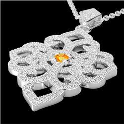 1.40 CTW Citrine & Micro Pave VS/SI Diamond Designer Necklace 14K White Gold - REF-127T3M - 22552