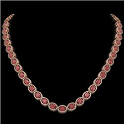 31.1 CTW Tourmaline & Diamond Halo Necklace 10K Rose Gold - REF-600K2W - 40419