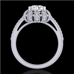 1.65 CTW VS/SI Diamond Solitaire Art Deco Micro Pave Ring 18K White Gold - REF-427M3H - 36992