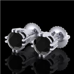 1.07 CTW Fancy Black Diamond Solitaire Art Deco Stud Earrings 18K White Gold - REF-85F5N - 37534