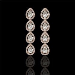 5.22 CTW Pear Diamond Designer Earrings 18K Rose Gold - REF-969A6X - 42648